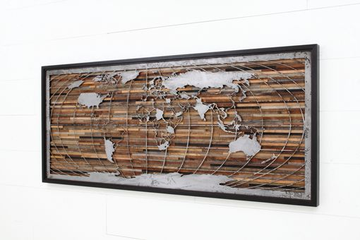 Custom Made World Map Artwork Made Of Old Barnwood And Natural Steel, Different Sizes Available.