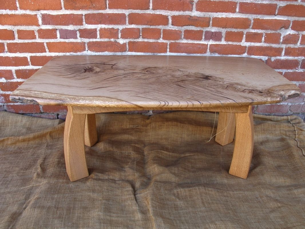 Hand Crafted Valley Oak Slab Coffee Table With Curved Legs By Sierra Woodcraft Custommade