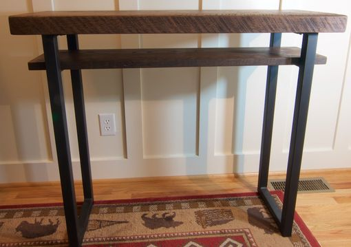 Custom made reclaimed wood sofa table rustic tall oak for Tall console table