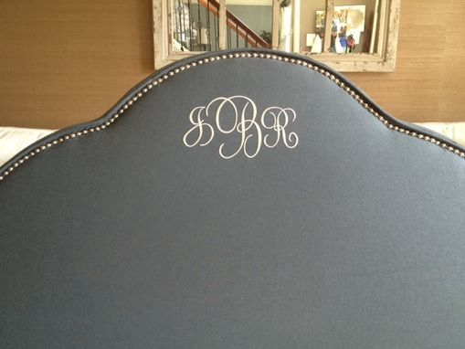 Custom Made Upholstered Arched Headboard, Charcoal Linen, Silver Nailhead