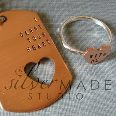 Custom Made Intertwine. Copper Dog Tag And Sterling Silver Heart Ring