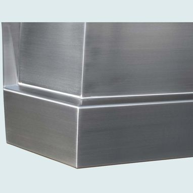 Custom Made Stainless Range Hood With Angled Stack Top