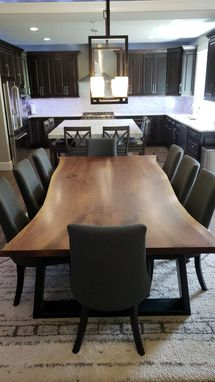 Custom Made Book Matched Black Walnut Live Edge Dining Table