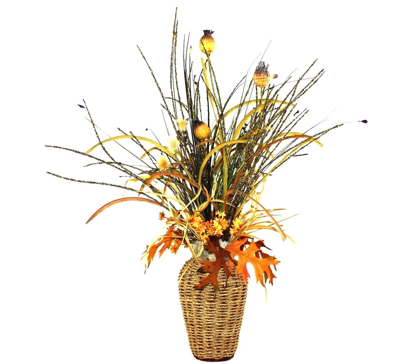 Custom Basket Weave Silk Flower Arrangement Large Table Centerpiece Living Room Decor Dining