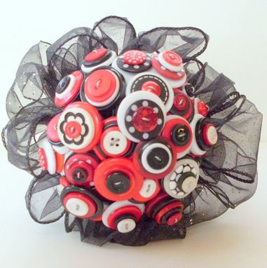 "Custom Made Red, Black, And White Buttons Bridal Bouquet ""Let's Dance"""