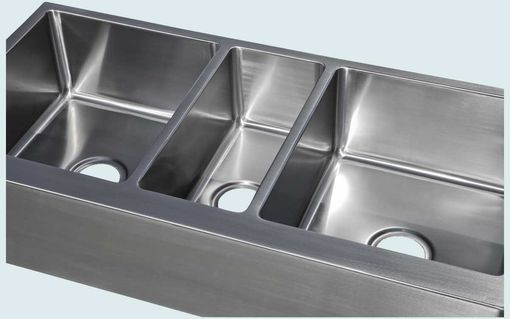 Custom Made Stainless Sink With Apron & 3 Bowls