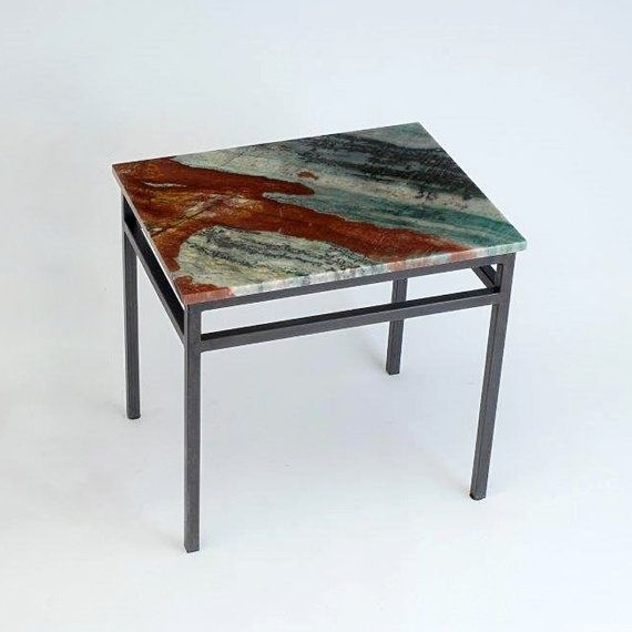 Custom Made Natural Stone Top End Table Steel Base