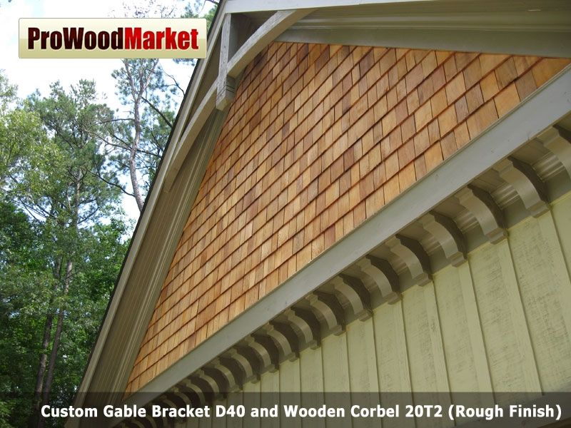 Hand crafted custom gable bracket d40 and wooden corbel for Cedar gable brackets