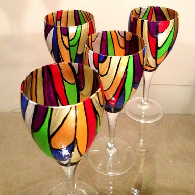 Custom Made Hand Painted Wine Glasses. Abstract Colorful Stained Glass Design