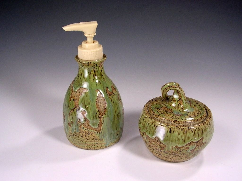 Stoneware bathroom accessories - Custom Made Stoneware Soap Pump Dispenser And Lidded Jar Kitchen Or Bathroom Set