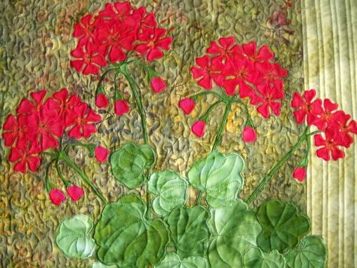 Custom Made Geraniums Quilted Wall Hanging