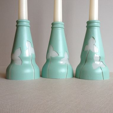 Custom Made Candle Stick Holder, Set Of Three, Light Blue And White, Clovers