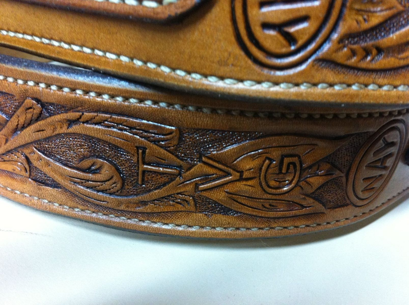 Handmade custom leather carved banjo strap by nay s
