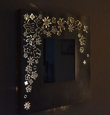 Custom Made Silver Flowers Mirror