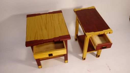 Custom Made Green & Green Gone Wild Mismatched Nightstands In Yellowheart And Purpleheart