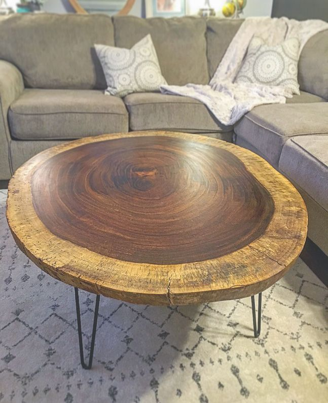 Buy A Handmade Live Edge Round Acacia Coffee Table Made