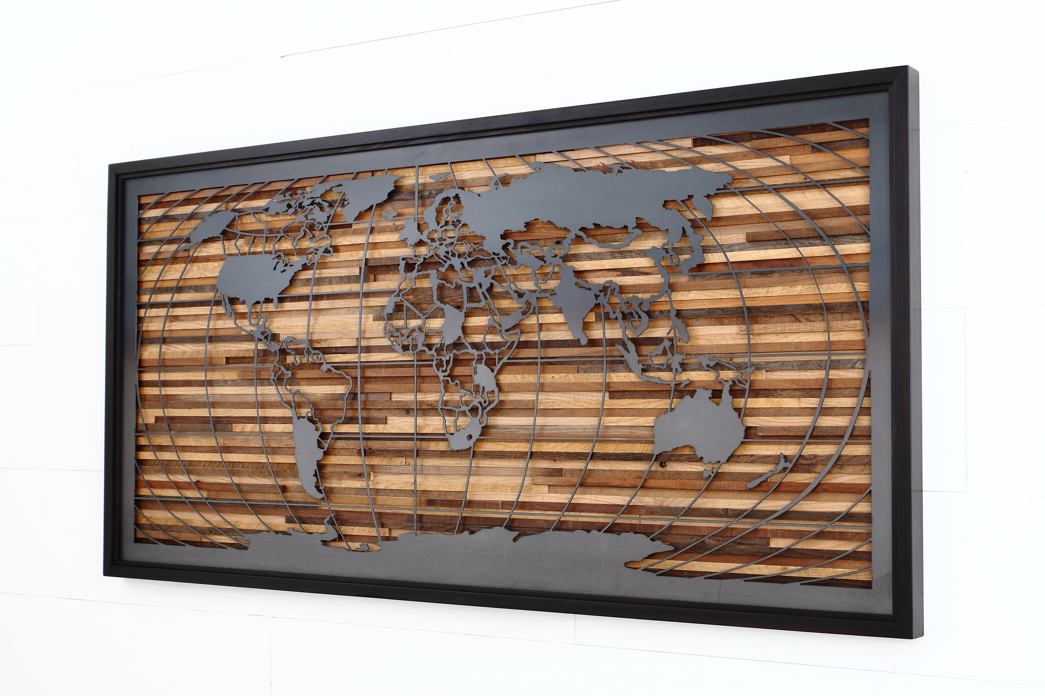 Custom Made World Map Artwork Made Of Old Barnwood And Natural