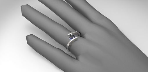 Custom Made 14k White Gold Modern Engagement Ring With White Sapphire