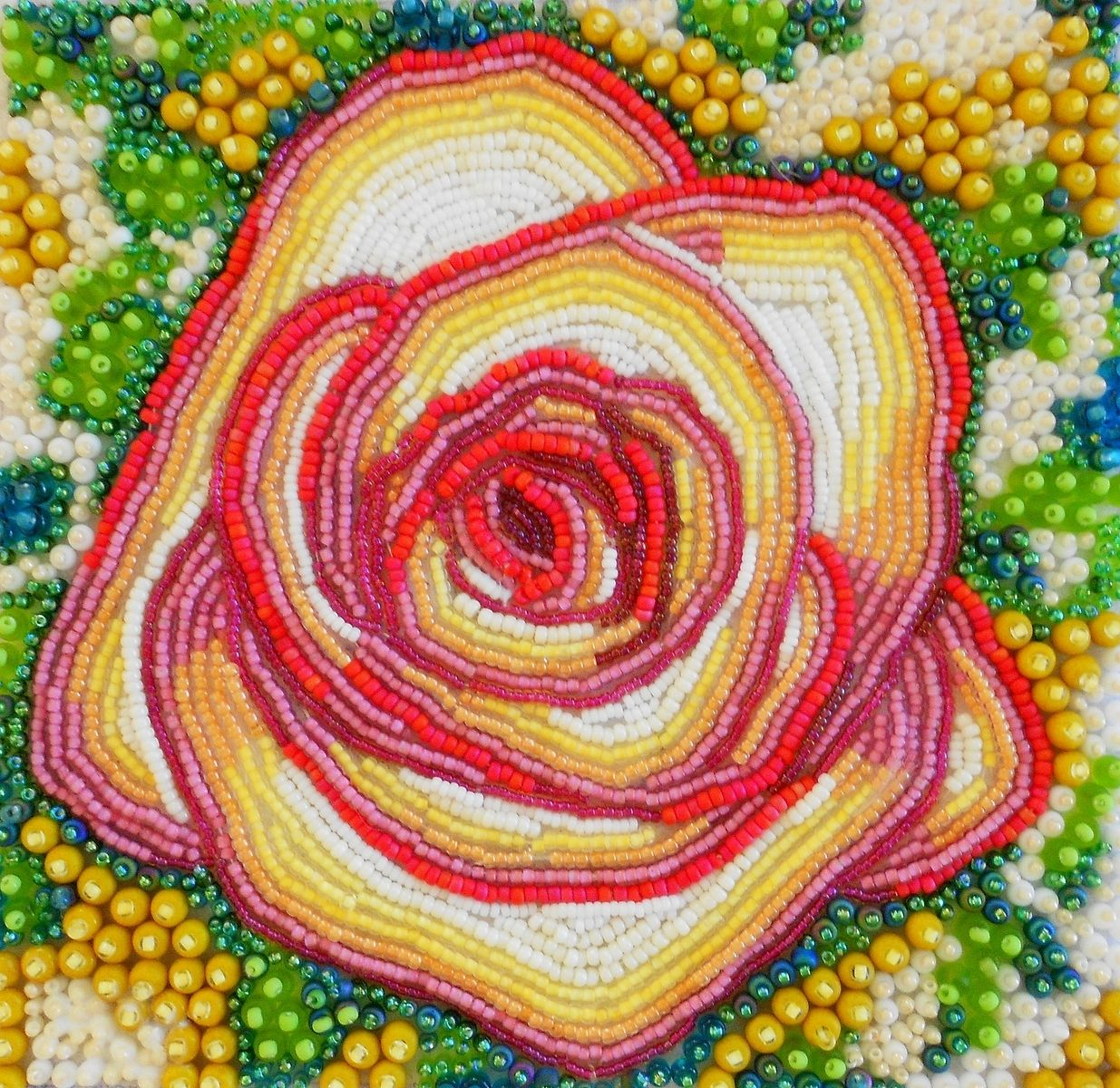 Custom seed bead embroidered rose by contemporary