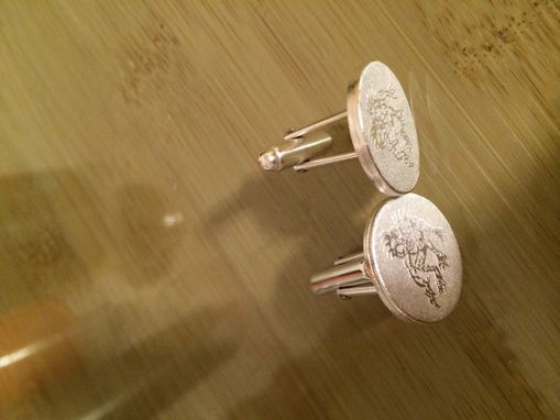 Custom Made Sterling Silver Cuff Links With Customers Artwork