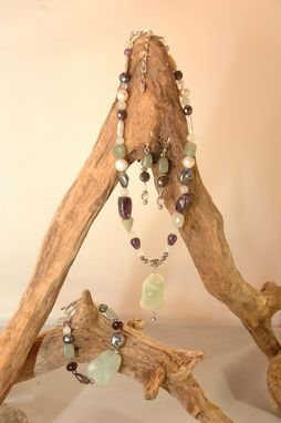 Custom Made New Jade,  Peacock Pearl, Amethyst Necklace With Pendant, Bracelet, Earrings