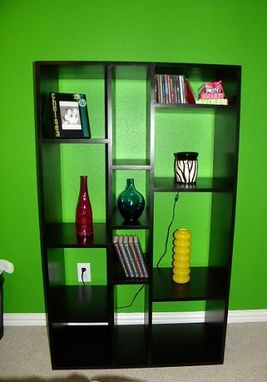 Custom Made Black Lacquer Multi-Faceted Shelves