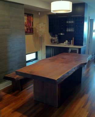 Custom Made Live Edge Walnut Table & Bench