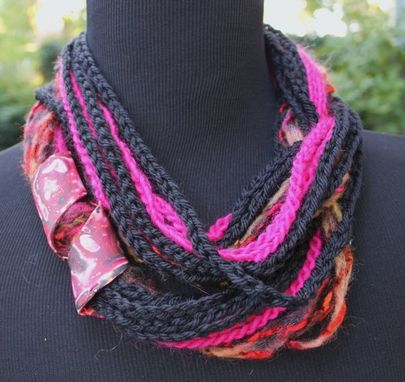 Custom Made Fuschia Jet - Twisted Scarf With Marbled Clay Gold Embossed Clasp