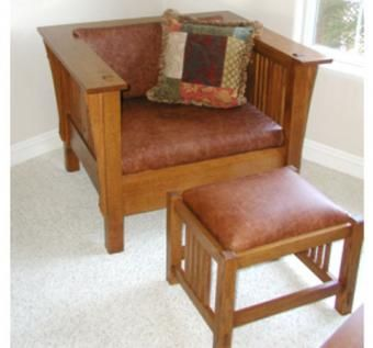 Custom Made Mission Settle & Footstool In Leather