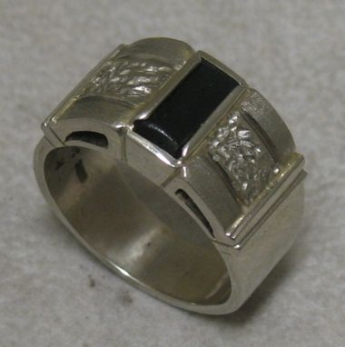 Custom Made Men's White Gold & Black New Zealand Jade Ring