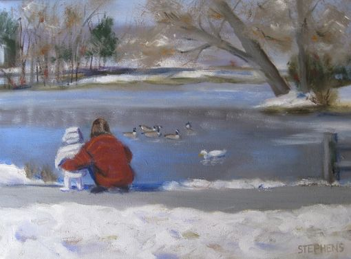 Custom Made Art, Painting (Snowy Pond)