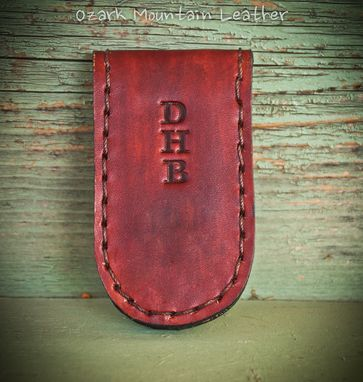 Custom Made Personalized Leather Magnetic Money Clip/Holder