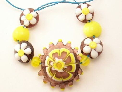 Custom Made Flower Power Lampwork Glass Bead Set