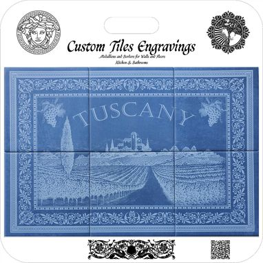"Custom Made Kitchen & Bathroom Medallion, Blue Navaro Engraved On Ceramic Stone 24""X16"""
