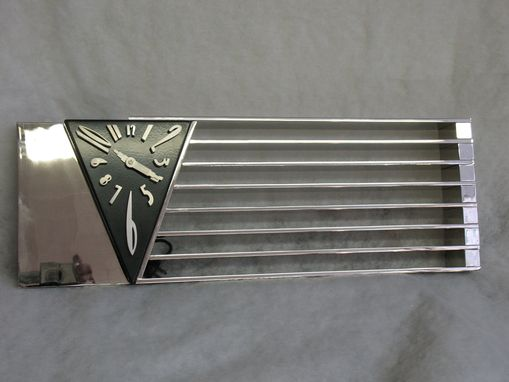 Custom Made Amazing Art Deco Machine Age Monumental Triangle Clock After A Design By Jean Puiforcat