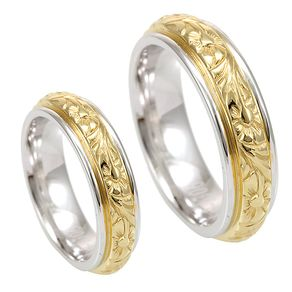 Engraved Wedding Bands In 14k White And Yellow Gold Victorian Design Rings Promise