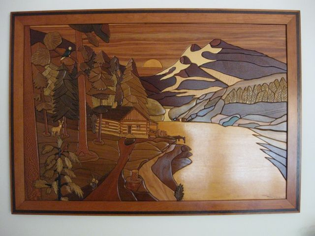 Hand Crafted Framed Intarsia Sunset Valley By Woodworking