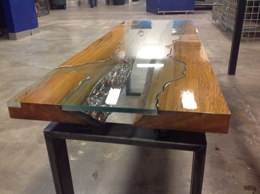 Custom Made Wood Through Glass Coffee Table
