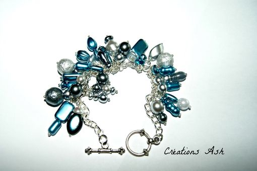 Custom Made Dangles Galore Bracelet - Glass Czech Beads, Silver Plated Chain, Ooak