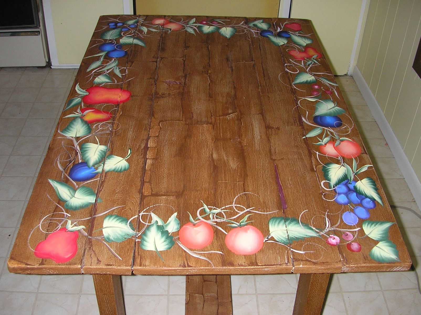 Custom Made Kitchen Patio Table Hand Painted Faux Wood With Harvest Fruit Border