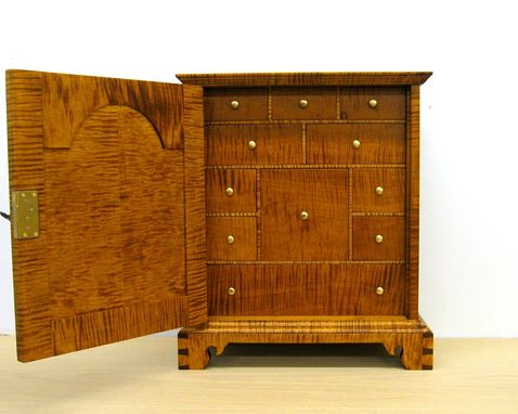 Custom Made Curly Tiger Maple Spice Chest With 11 Drawers