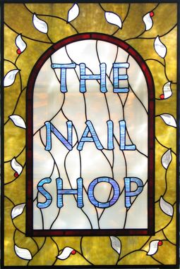 Custom Made Nail Shop Stained Glass Signs