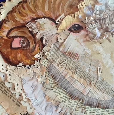 Custom Made Fluffy Ram Original Painting Collage