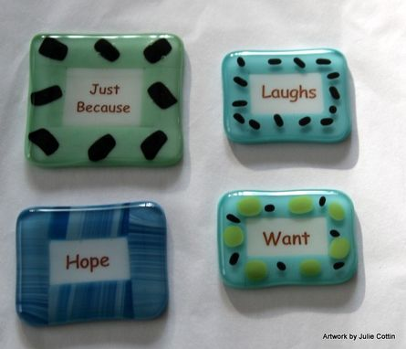Custom Made Fused Glass Magnets And/Or Wine Bottle Charms