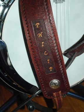 Custom Made Custom Design Leather Banjo Strap