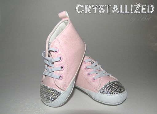 Custom Made Crystallized Newborn Baby Pink Glitter Sneakers Made With Swarovski Crystals