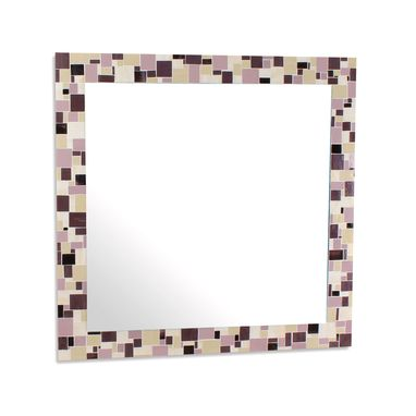 Custom Made Decorative Mosaic Bathroom Wall Mirror In Purples And Cream Stained Glass Tiles