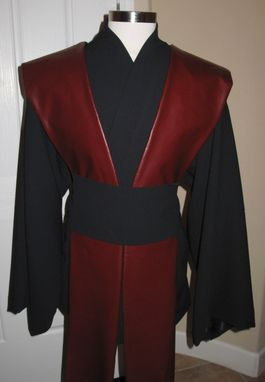 Custom Made Sith Jedi Black Wool Gabardine Tunic & Sash,Burgundy Pleather Tabards Costume