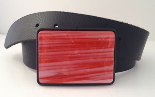 Custom Made Poppy And White Stripes Fused Glass Belt Buckle