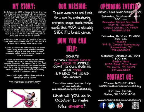 "Custom Made Brochure For, ""Breast Cancer Can Stick It!"""